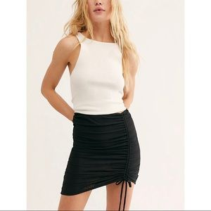 NWT Free People High Rise Tie Ruched Mini Skirt